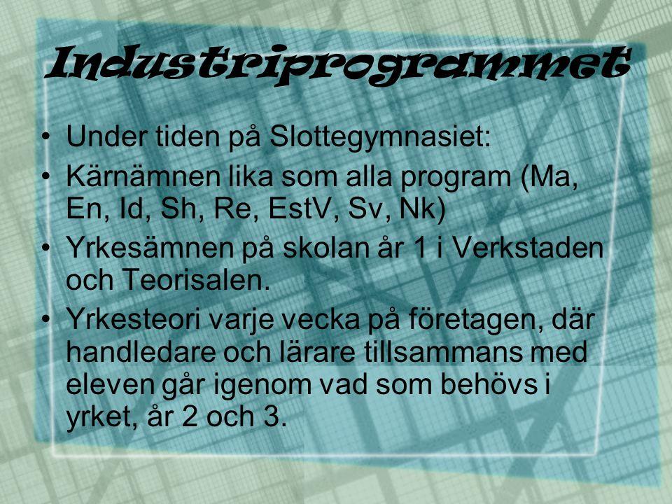 Industriprogrammet •Under tiden på Slottegymnasiet: •Kärnämnen lika som alla program (Ma, En, Id, Sh, Re, EstV, Sv, Nk) •Yrkesämnen på skolan år 1 i V