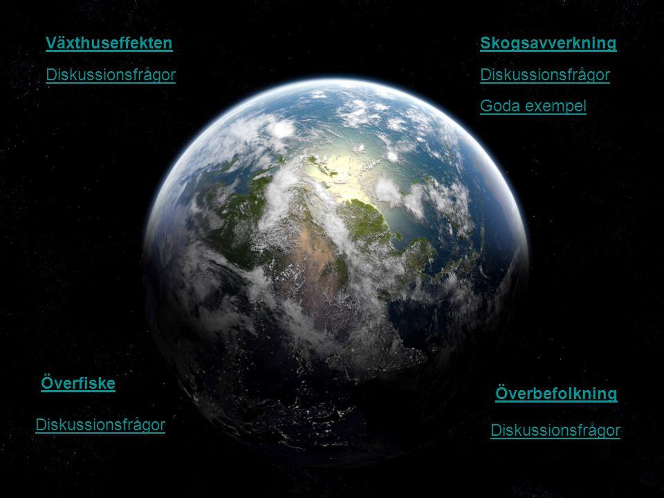 Växthuseffekten Överfiske Skogsavverkning Överbefolkning Diskussionsfrågor Goda exempel