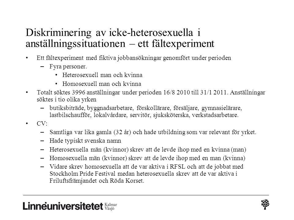 Diskriminering av icke-heterosexuella i anställningssituationen – ett fältexperiment • Ett fältexperiment med fiktiva jobbansökningar genomfört under