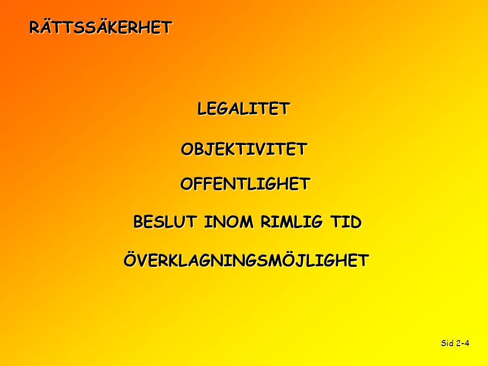RÄTTSSÄKERHET LEGALITET OFFENTLIGHET OBJEKTIVITET BESLUT INOM RIMLIG TID ÖVERKLAGNINGSMÖJLIGHET Sid 2-4