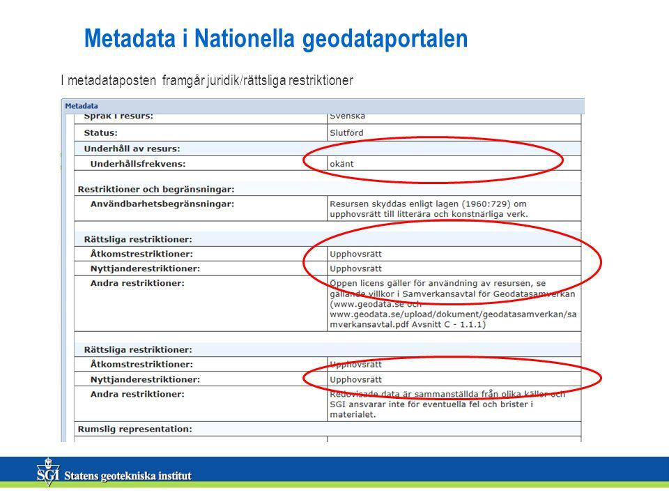 Metadata i Nationella geodataportalen I metadataposten framgår juridik/rättsliga restriktioner
