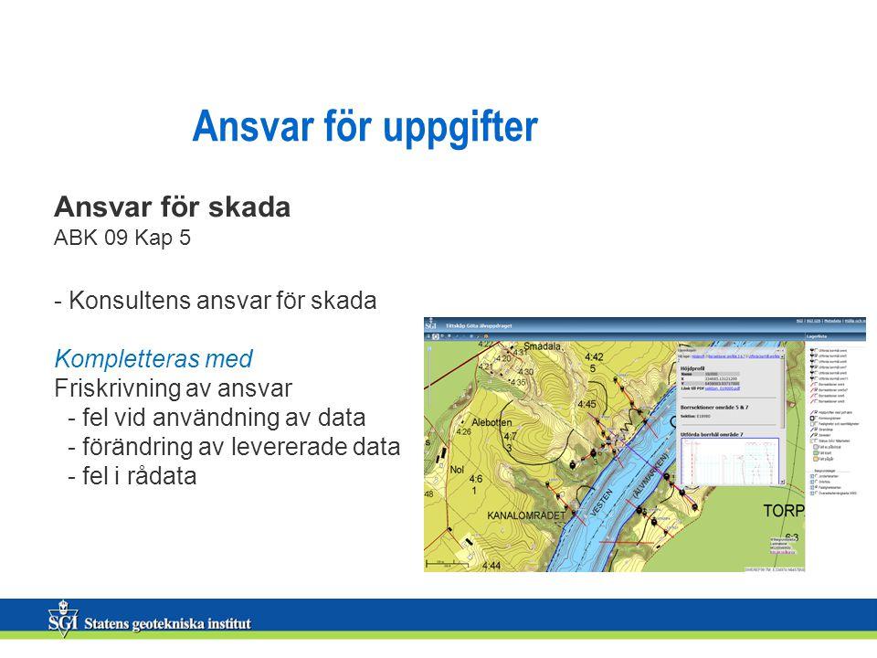 Ansvar för uppgifter Ansvar för skada ABK 09 Kap 5 - Konsultens ansvar för skada Kompletteras med Friskrivning av ansvar - fel vid användning av data