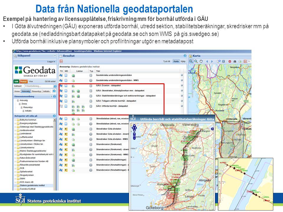 Data från Nationella geodataportalen Exempel på hantering av licensupplåtelse, friskrivning mm för borrhål utförda i GÄU • I Göta älvutredningen (GÄU)