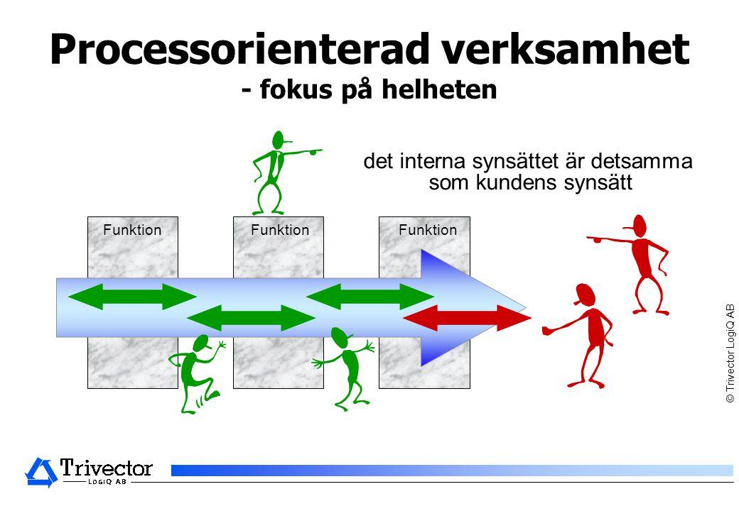 © Trivector LogiQ AB Funktionsorienterad verksamhet - fokus på delarna Funktion Det interna synsättet är vertikalt Chefer tenderar att fokusera på egen funktionell silo Kundens synsätt är horisontellt Funktion