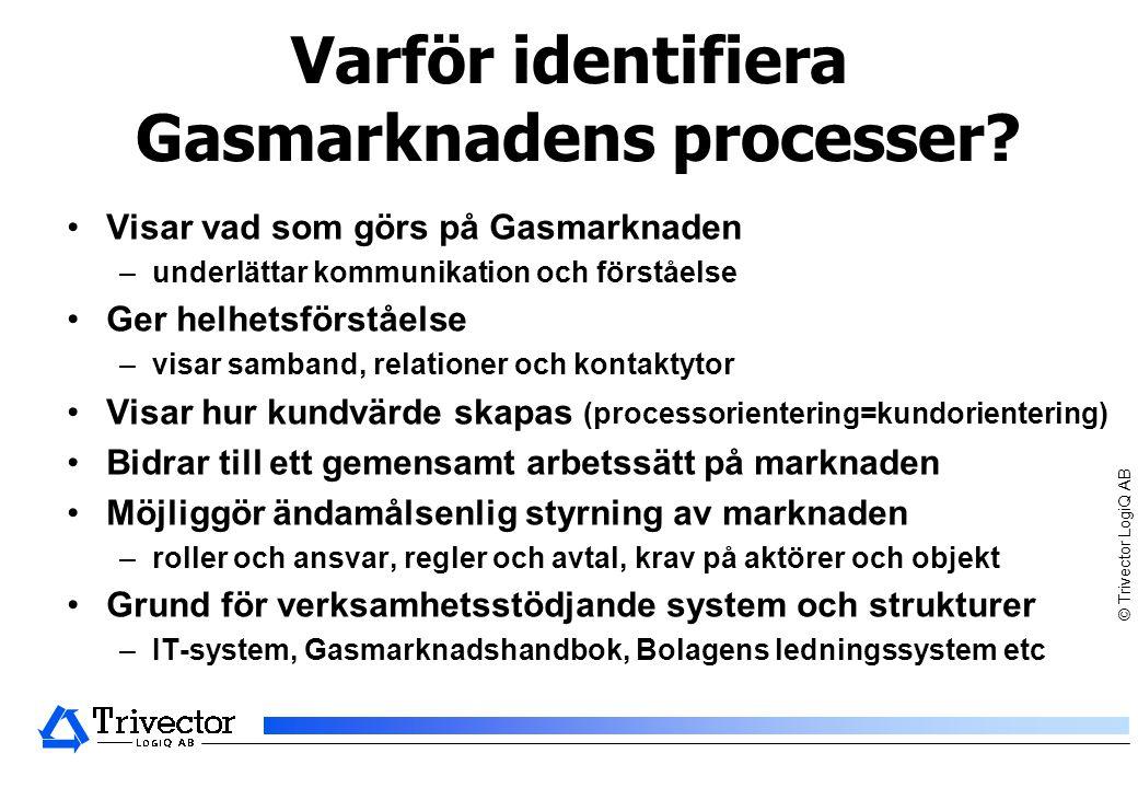 © Trivector LogiQ AB Varför identifiera Gasmarknadens processer.