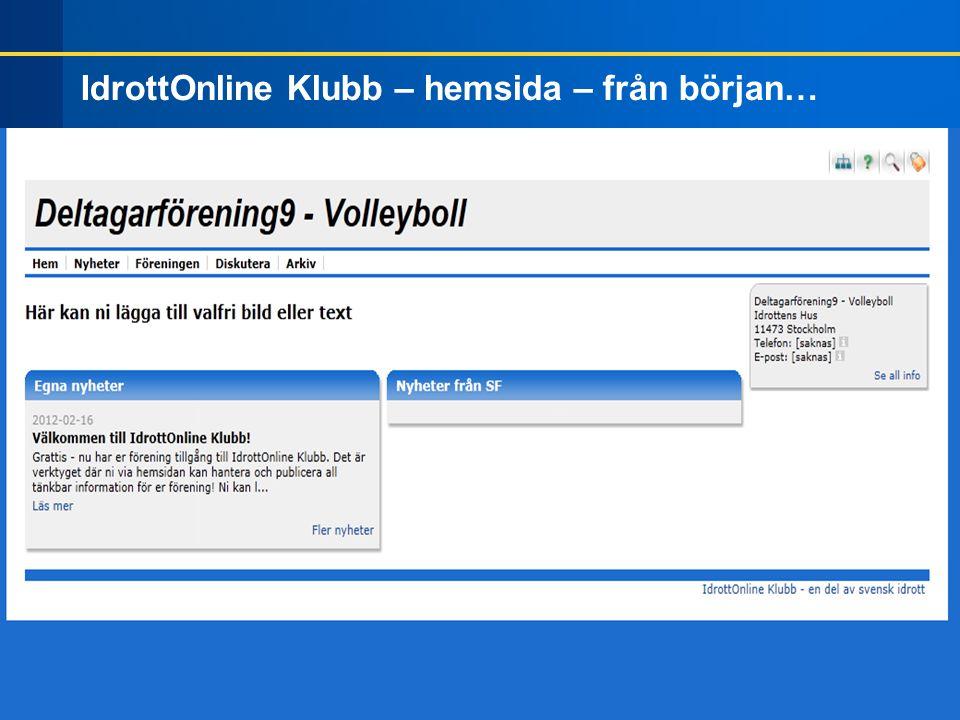 IdrottOnline Klubb – hemsida – från början…