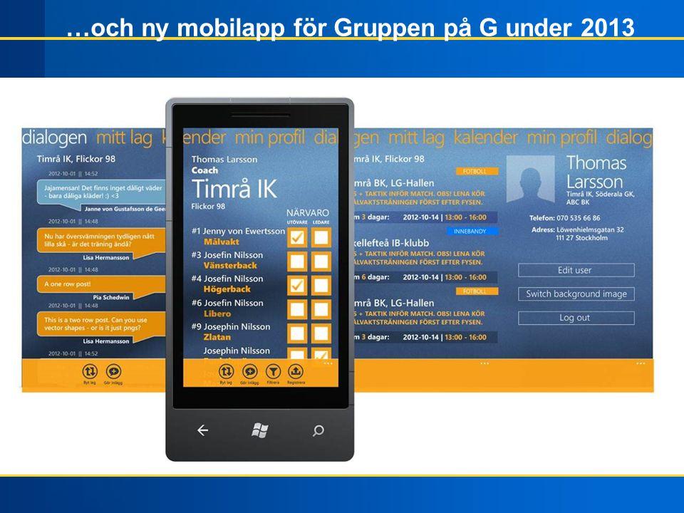 …och ny mobilapp för Gruppen på G under 2013