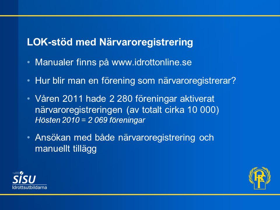 LOK-stöd med Närvaroregistrering •Manualer finns på www.idrottonline.se •Hur blir man en förening som närvaroregistrerar? •Våren 2011 hade 2 280 fören