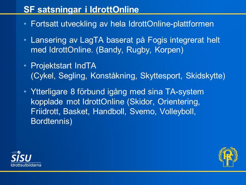 SF satsningar i IdrottOnline •Fortsatt utveckling av hela IdrottOnline-plattformen •Lansering av LagTA baserat på Fogis integrerat helt med IdrottOnli