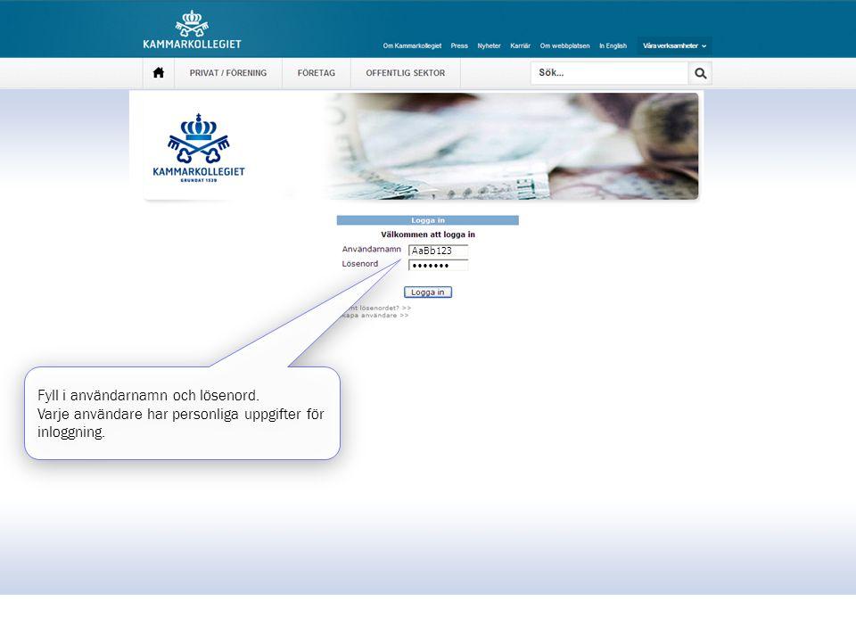 Fyll i användarnamn och lösenord. Varje användare har personliga uppgifter för inloggning. Fyll i användarnamn och lösenord. Varje användare har perso