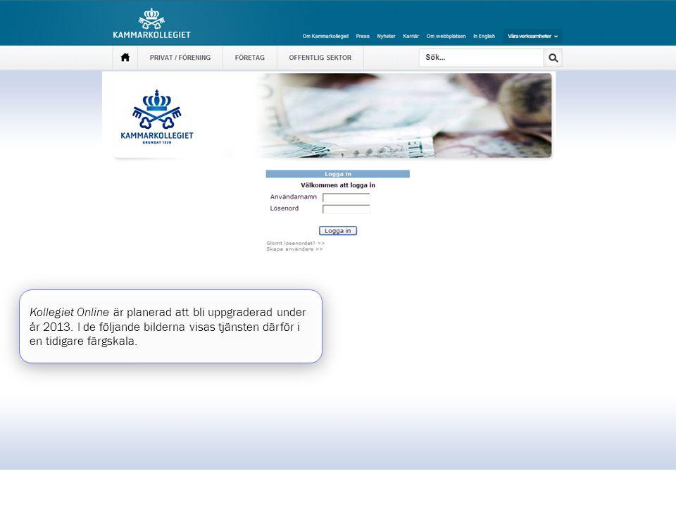 Kollegiet Online är planerad att bli uppgraderad under år 2013. I de följande bilderna visas tjänsten därför i en tidigare färgskala.