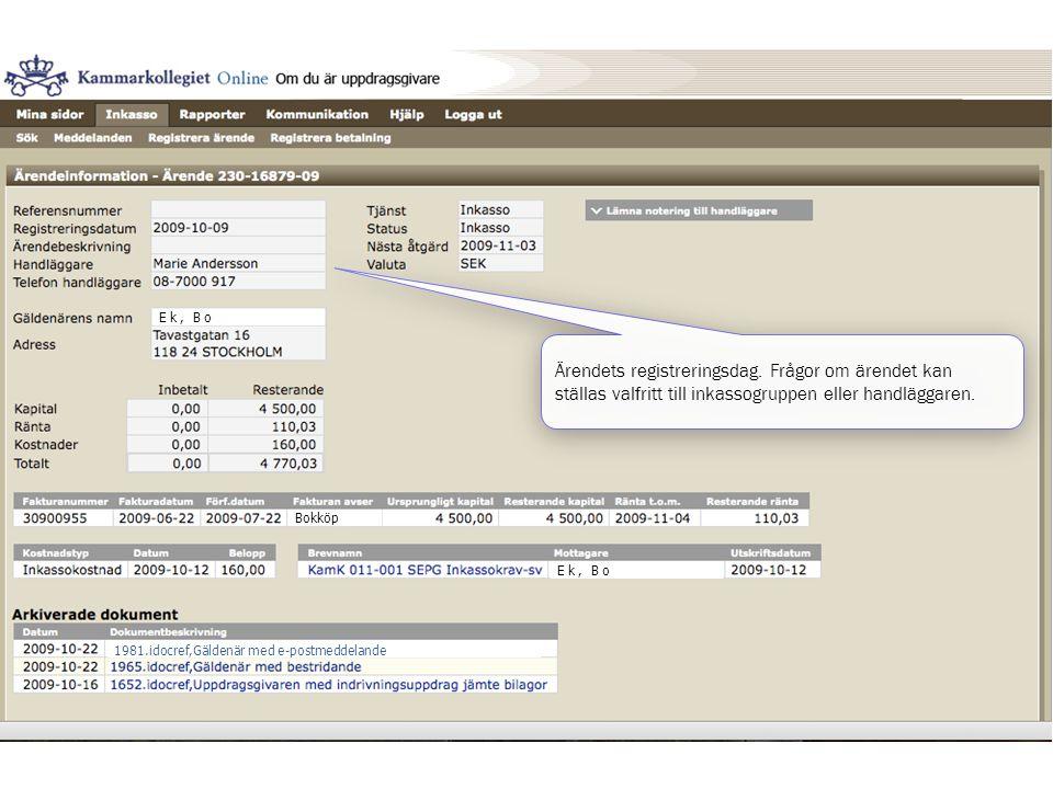Ek, Bo Bokköp Ek, Bo 1981.idocref,Gäldenär med e-postmeddelande Ärendets registreringsdag. Frågor om ärendet kan ställas valfritt till inkassogruppen