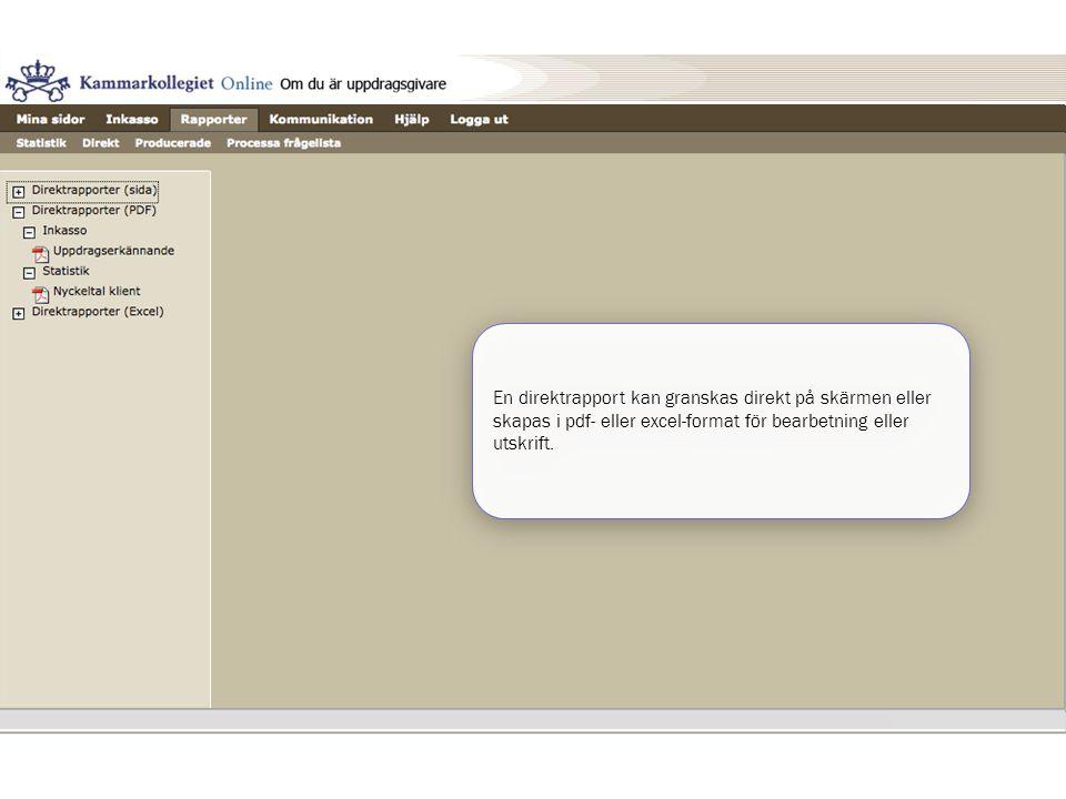 En direktrapport kan granskas direkt på skärmen eller skapas i pdf- eller excel-format för bearbetning eller utskrift.