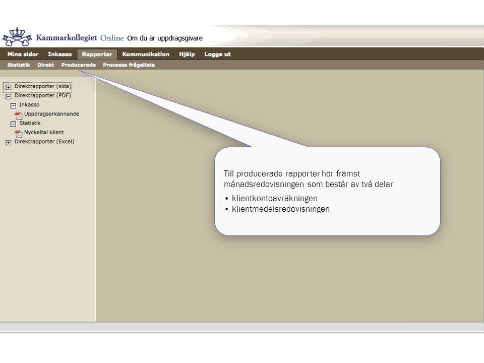 Till producerade rapporter hör främst månadsredovisningen som består av två delar • klientkontoavräkningen • klientmedelsredovisningen Till producerad