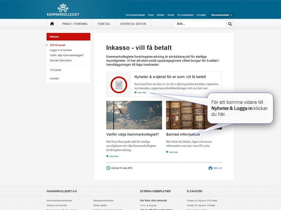 Här hittar du användbara dokument och länkar till lagstiftning m.m. För att komma vidare till Nyheter & Logga in klickar du här.