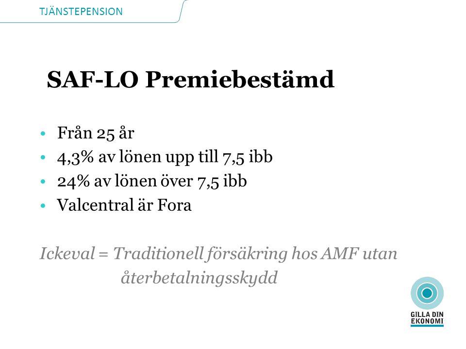 TJÄNSTEPENSION SAF-LO Premiebestämd •Från 25 år •4,3% av lönen upp till 7,5 ibb •24% av lönen över 7,5 ibb •Valcentral är Fora Ickeval = Traditionell försäkring hos AMF utan återbetalningsskydd