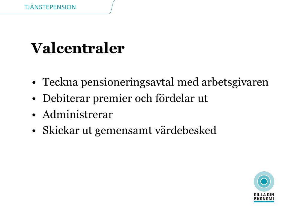 TJÄNSTEPENSION Valcentraler •Teckna pensioneringsavtal med arbetsgivaren •Debiterar premier och fördelar ut •Administrerar •Skickar ut gemensamt värdebesked