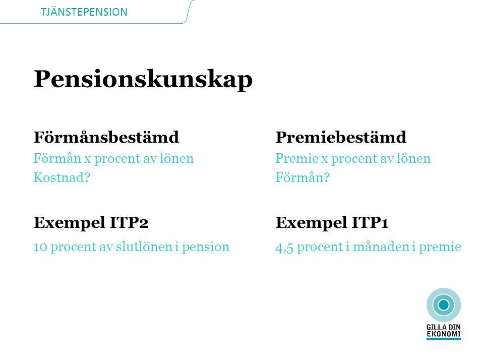 TJÄNSTEPENSION Pensionskunskap FörmånsbestämdPremiebestämd Förmån x procent av lönenPremie x procent av lönen Kostnad?Förmån.