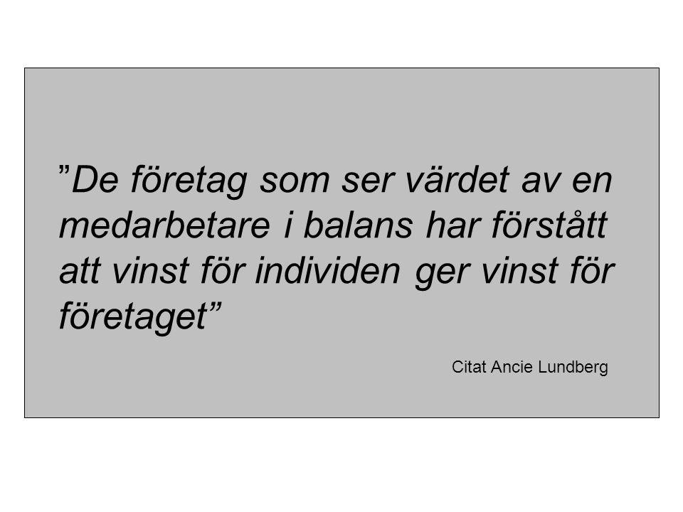 """""""De företag som ser värdet av en medarbetare i balans har förstått att vinst för individen ger vinst för företaget"""" Citat Ancie Lundberg"""