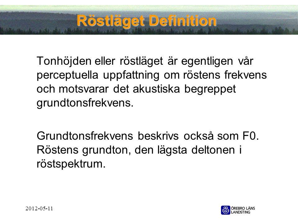 2012-05-11 Röstläget Definition Tonhöjden eller röstläget är egentligen vår perceptuella uppfattning om röstens frekvens och motsvarar det akustiska b