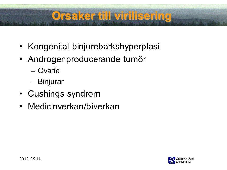 2012-05-11 Orsaker till virilisering •Kongenital binjurebarkshyperplasi •Androgenproducerande tumör –Ovarie –Binjurar •Cushings syndrom •Medicinverkan