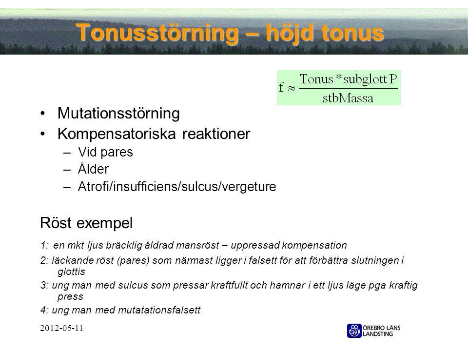 Tonusstörning – höjd tonus •Mutationsstörning •Kompensatoriska reaktioner –Vid pares –Ålder –Atrofi/insufficiens/sulcus/vergeture Röst exempel 1: en m