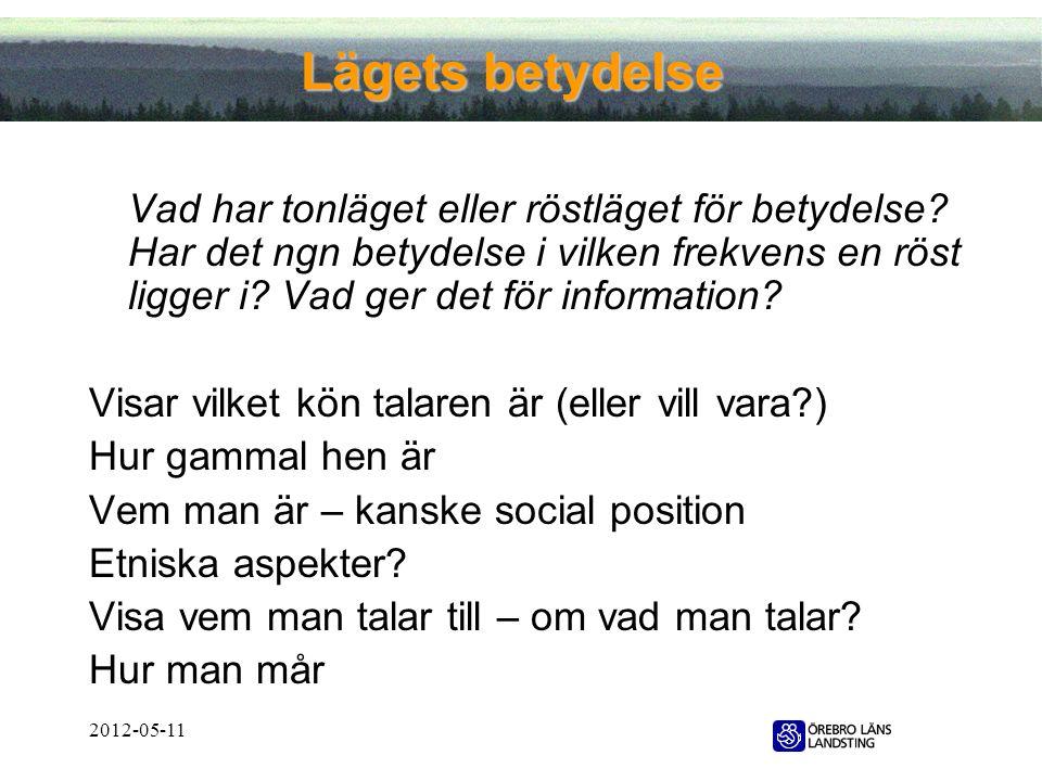 2012-05-11 Lägets betydelse Vad har tonläget eller röstläget för betydelse? Har det ngn betydelse i vilken frekvens en röst ligger i? Vad ger det för