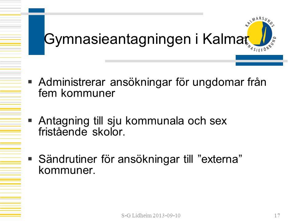 S-G Lidheim 2013-09-1017 Gymnasieantagningen i Kalmar  Administrerar ansökningar för ungdomar från fem kommuner  Antagning till sju kommunala och se