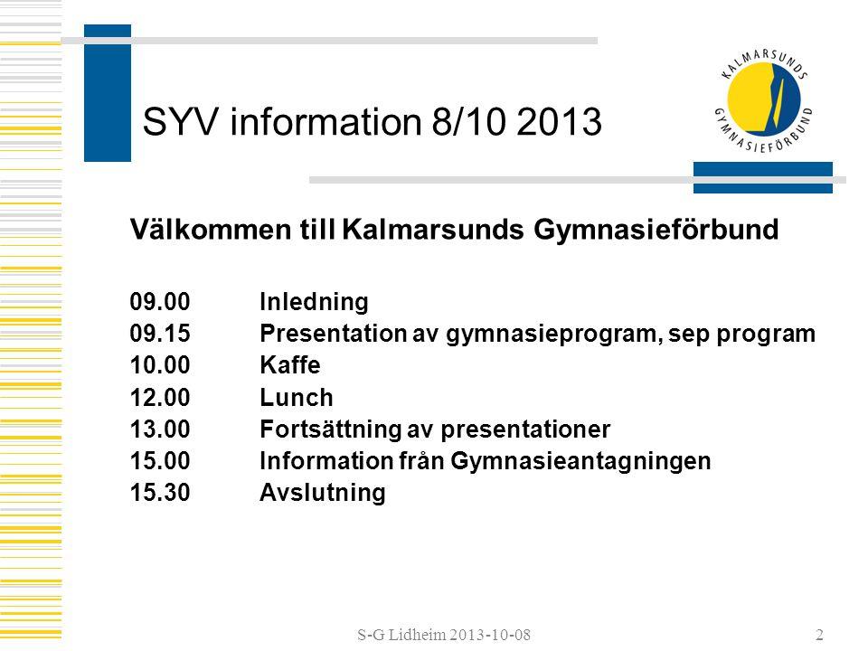 SYV information 8/10 2013 Välkommen till Kalmarsunds Gymnasieförbund 09.00Inledning 09.15 Presentation av gymnasieprogram, sep program 10.00Kaffe 12.0