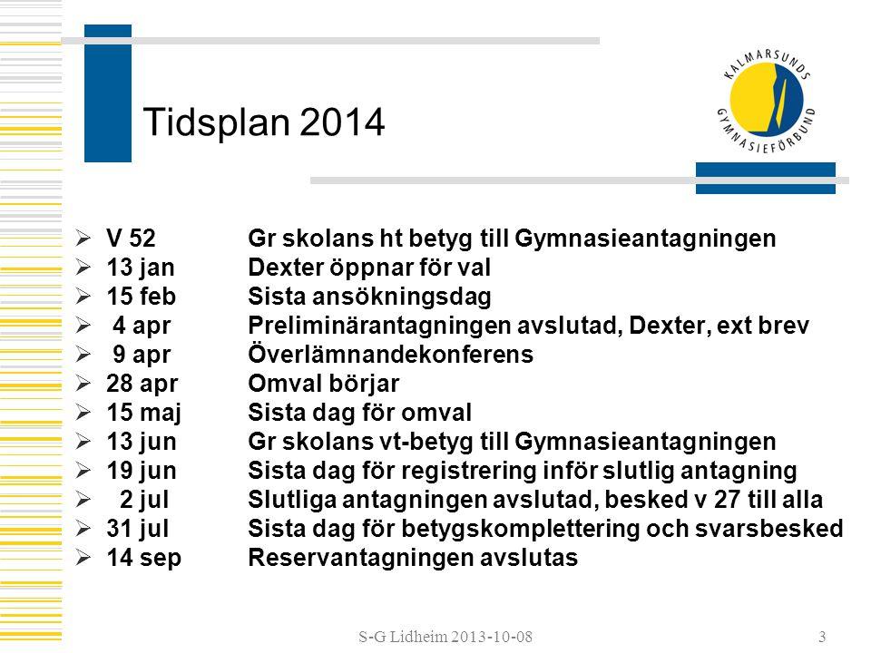 S-G Lidheim 2013-10-08 Tidsplan 2014  V 52 Gr skolans ht betyg till Gymnasieantagningen  13 janDexter öppnar för val  15 febSista ansökningsdag  4