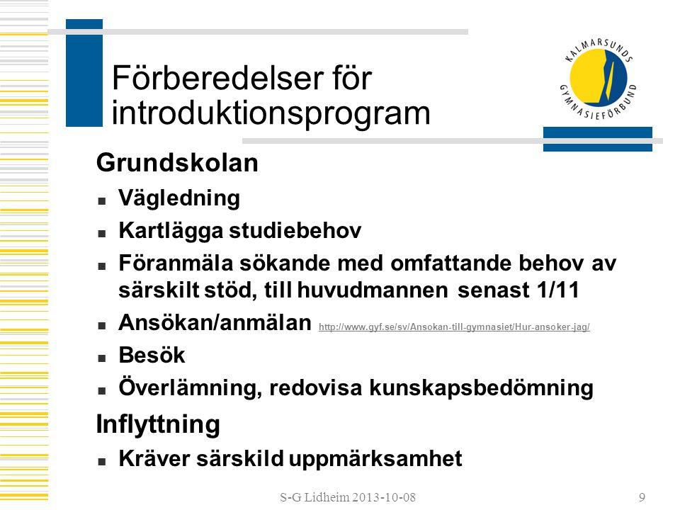 S-G Lidheim 2013-10-08 Förberedelser för introduktionsprogram Grundskolan  Vägledning  Kartlägga studiebehov  Föranmäla sökande med omfattande beho