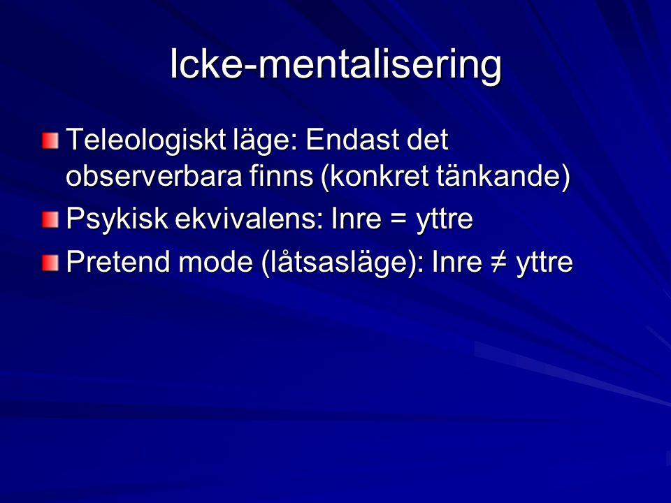 Icke-mentalisering Teleologiskt läge: Endast det observerbara finns (konkret tänkande) Psykisk ekvivalens: Inre = yttre Pretend mode (låtsasläge): Inr