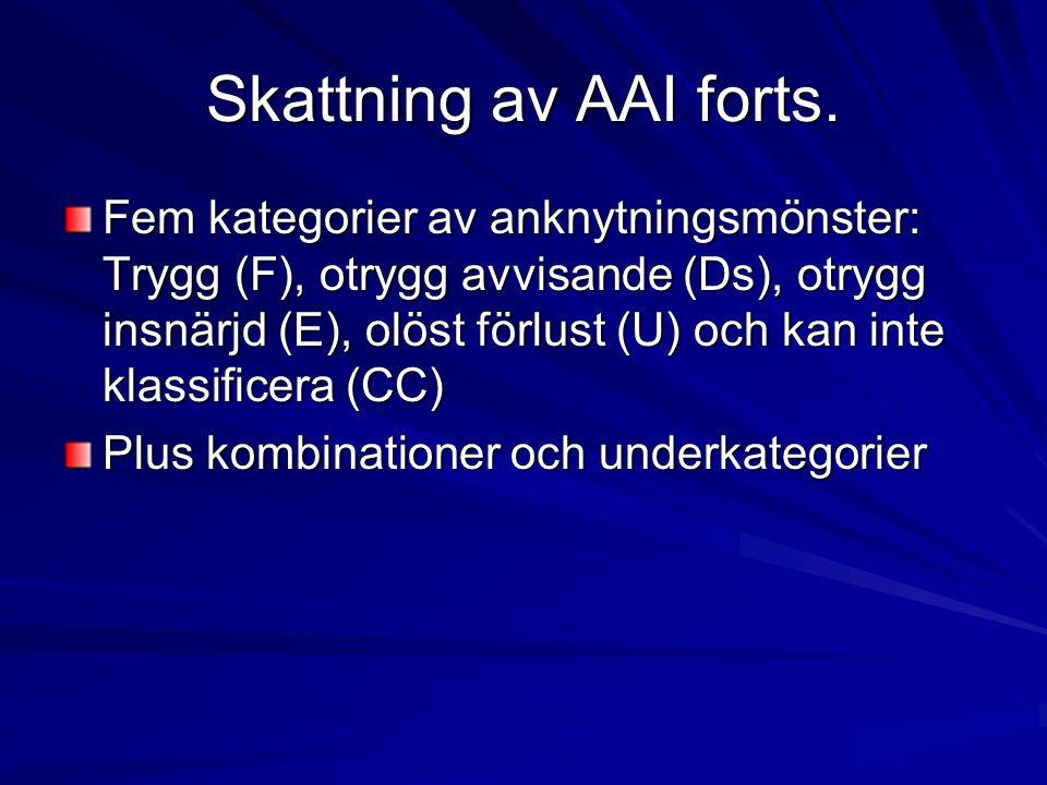 Skattning av AAI forts. Fem kategorier av anknytningsmönster: Trygg (F), otrygg avvisande (Ds), otrygg insnärjd (E), olöst förlust (U) och kan inte kl