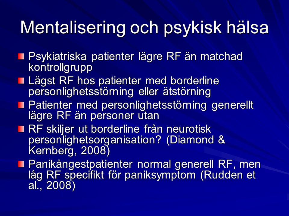 Mentalisering och psykisk hälsa Psykiatriska patienter lägre RF än matchad kontrollgrupp Lägst RF hos patienter med borderline personlighetsstörning e