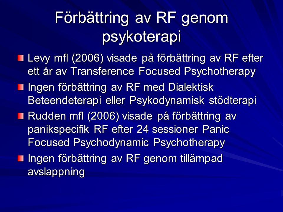 Förbättring av RF genom psykoterapi Levy mfl (2006) visade på förbättring av RF efter ett år av Transference Focused Psychotherapy Ingen förbättring a