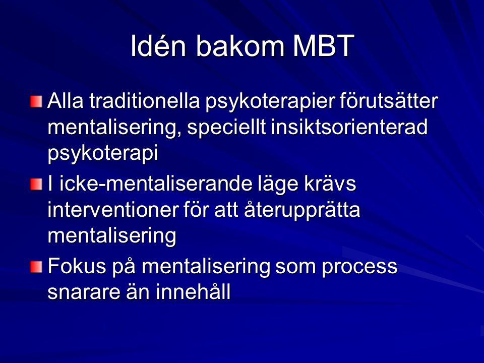 Idén bakom MBT Alla traditionella psykoterapier förutsätter mentalisering, speciellt insiktsorienterad psykoterapi I icke-mentaliserande läge krävs in