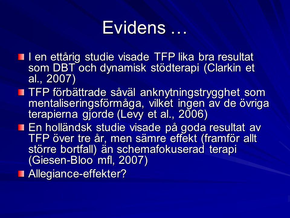 Evidens … I en ettårig studie visade TFP lika bra resultat som DBT och dynamisk stödterapi (Clarkin et al., 2007) TFP förbättrade såväl anknytningstry