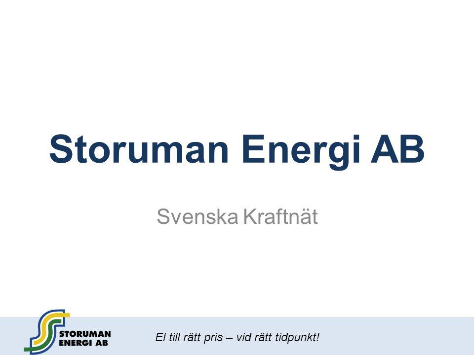 El till rätt pris – vid rätt tidpunkt! Storuman Energi AB Svenska Kraftnät