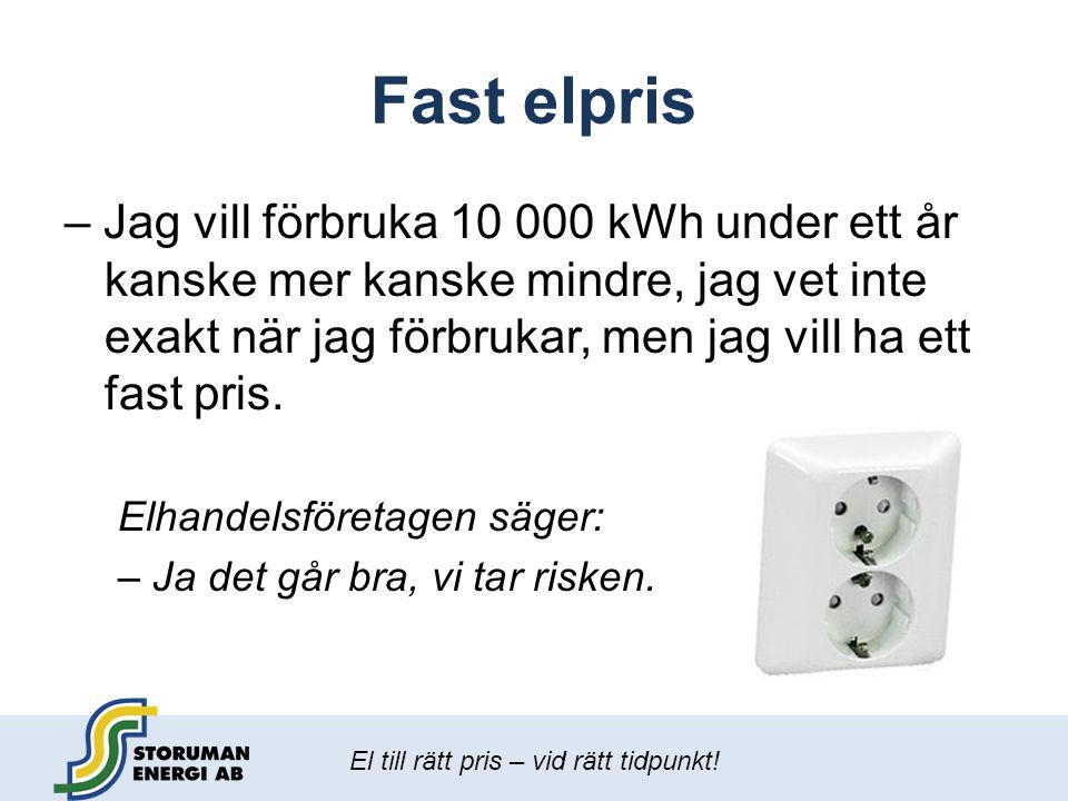 El till rätt pris – vid rätt tidpunkt! Fast elpris – Jag vill förbruka 10 000 kWh under ett år kanske mer kanske mindre, jag vet inte exakt när jag fö
