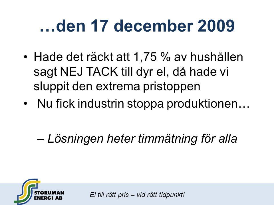 El till rätt pris – vid rätt tidpunkt! …den 17 december 2009 •Hade det räckt att 1,75 % av hushållen sagt NEJ TACK till dyr el, då hade vi sluppit den