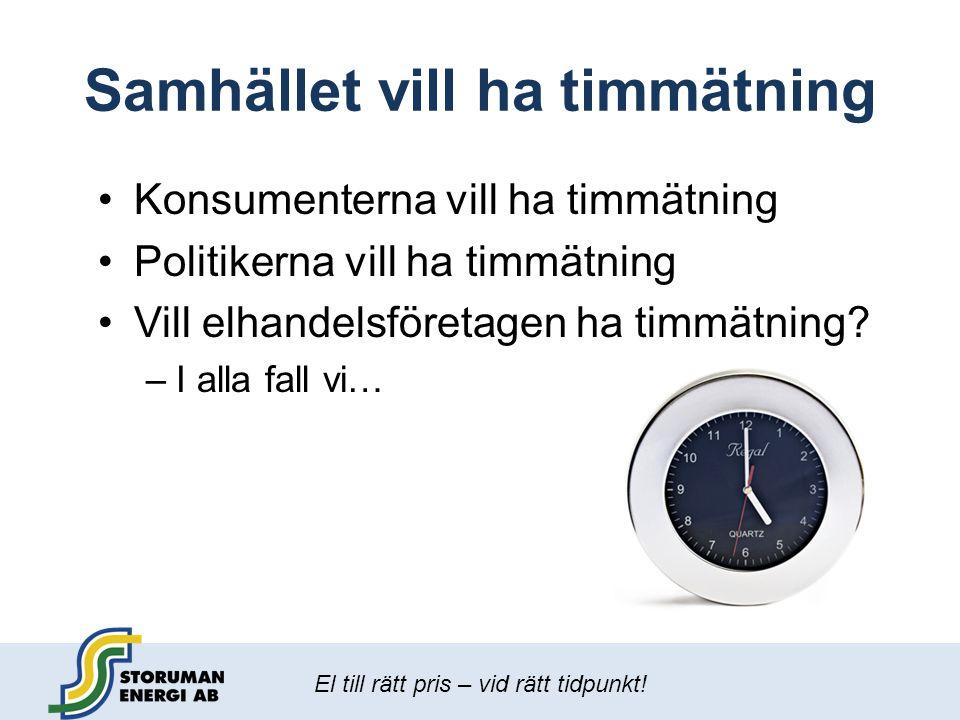 El till rätt pris – vid rätt tidpunkt! Samhället vill ha timmätning •Konsumenterna vill ha timmätning •Politikerna vill ha timmätning •Vill elhandelsf