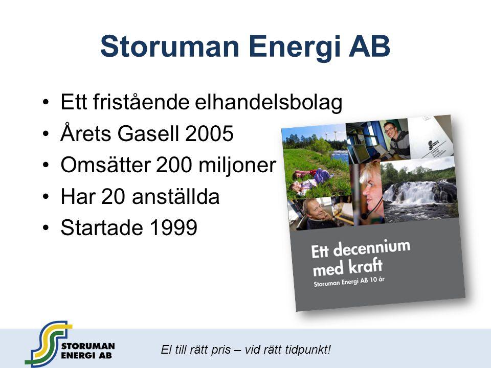 El till rätt pris – vid rätt tidpunkt! Storuman Energi AB •Ett fristående elhandelsbolag •Årets Gasell 2005 •Omsätter 200 miljoner •Har 20 anställda •