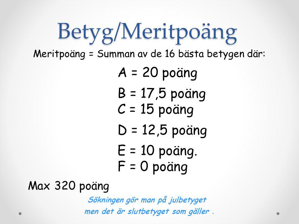 Betyg/Meritpoäng Meritpoäng = Summan av de 16 bästa betygen där: A = 20 poäng B = 17,5 poäng C = 15 poäng D = 12,5 poäng E = 10 poäng.
