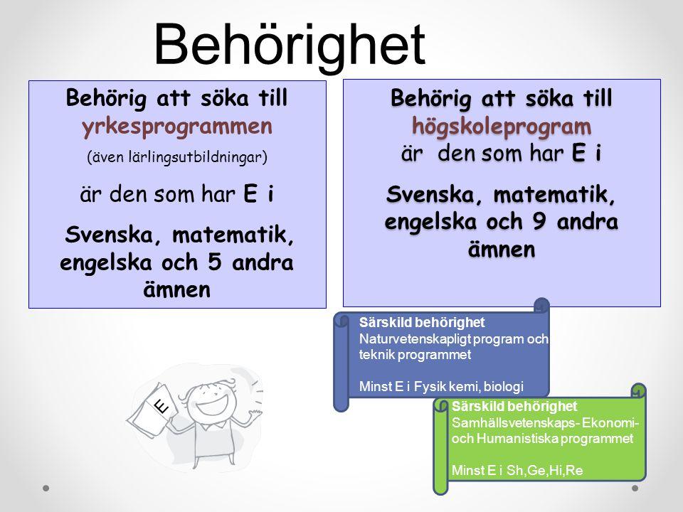 Behörig att söka till yrkesprogrammen (även lärlingsutbildningar) är den som har E i Svenska, matematik, engelska och 5 andra ämnen E Behörig att söka