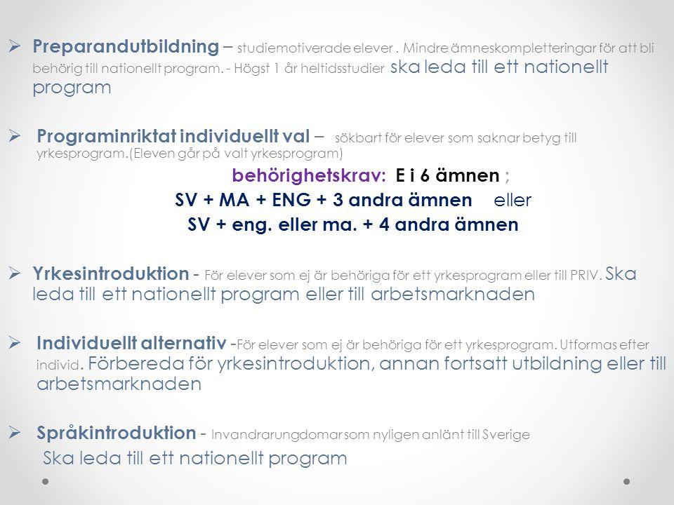  Preparandutbildning – studiemotiverade elever. Mindre ämneskompletteringar för att bli behörig till nationellt program. - Högst 1 år heltidsstudier