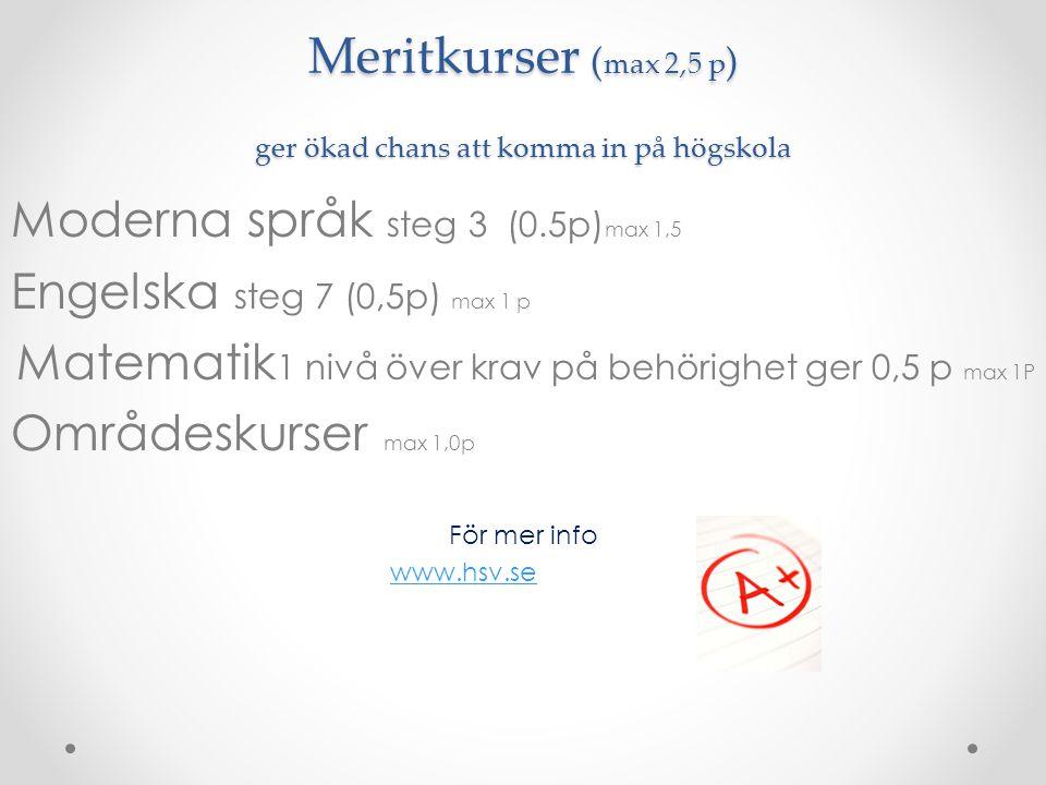 Meritkurser ( max 2,5 p ) ger ökad chans att komma in på högskola Moderna språk steg 3 (0.5p) max 1,5 Engelska steg 7 (0,5p) max 1 p Matematik 1 nivå