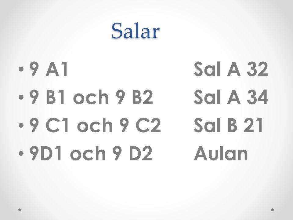 Salar • 9 A1 Sal A 32 • 9 B1 och 9 B2Sal A 34 • 9 C1 och 9 C2Sal B 21 • 9D1 och 9 D2Aulan