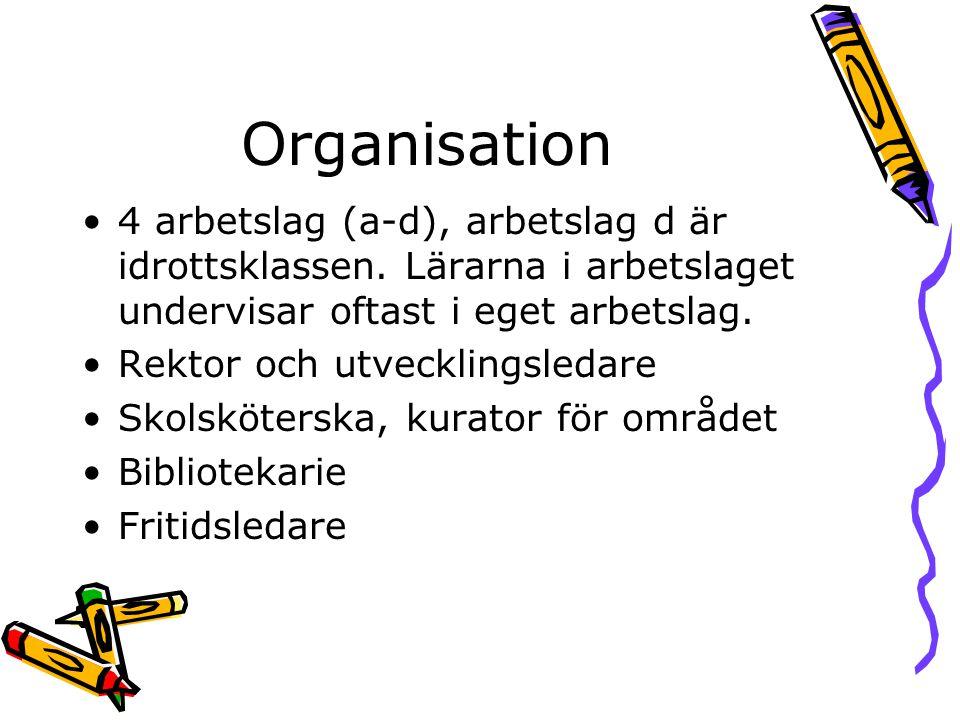 Organisation •4 arbetslag (a-d), arbetslag d är idrottsklassen. Lärarna i arbetslaget undervisar oftast i eget arbetslag. •Rektor och utvecklingsledar