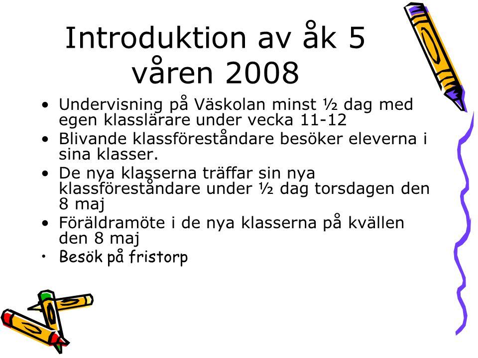 Introduktion av åk 5 våren 2008 •Undervisning på Väskolan minst ½ dag med egen klasslärare under vecka 11-12 •Blivande klassföreståndare besöker eleve