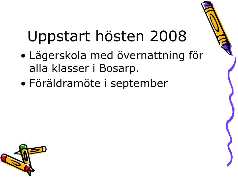 Uppstart hösten 2008 •Lägerskola med övernattning för alla klasser i Bosarp. •Föräldramöte i september
